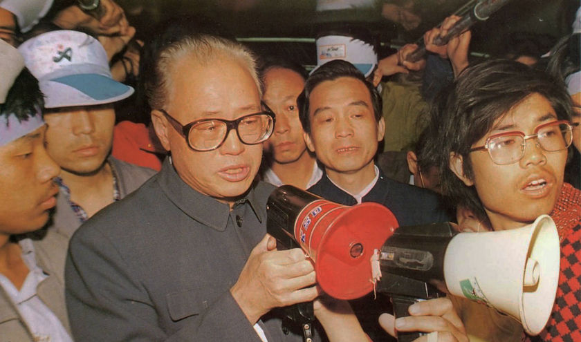 Premier Zhao Ziyang and Hu Jintao at Tiananmen