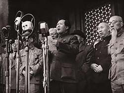 Mao kicks things off, Tiananmen Square, 1 October 1949